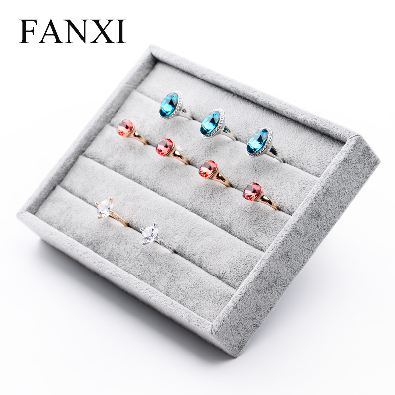 FANXI 5PCS/LOT jewelry ring holder display wrapped with velvet fabric stand for jewelry counter as the service tray ring display(China (Mainland))