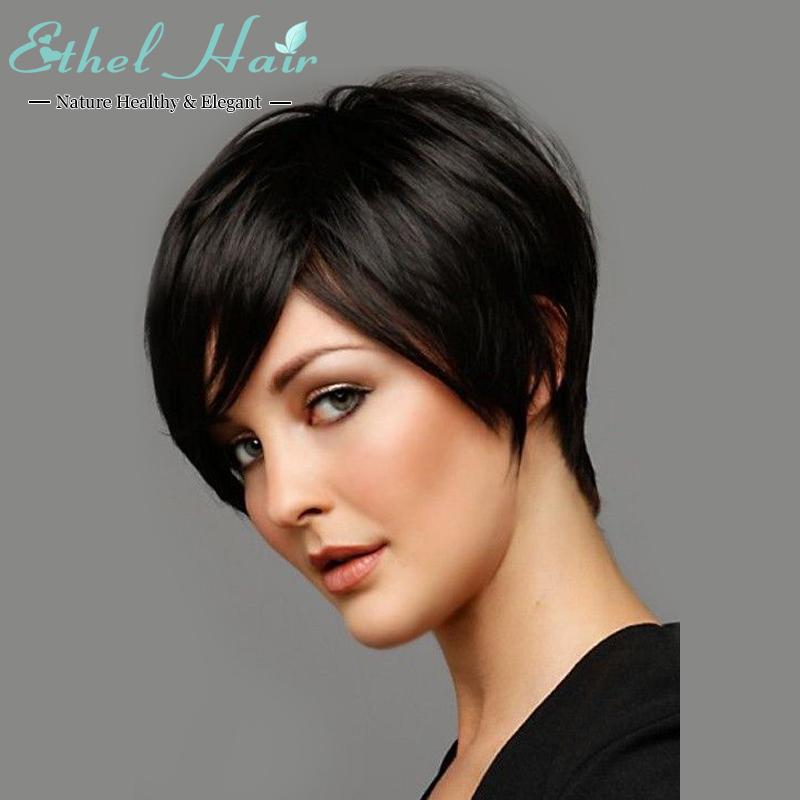 7A grade Brazilian virgin human hair wigs short Natural Glueless None lace wigs Lace front short fashion wigs for black women(China (Mainland))