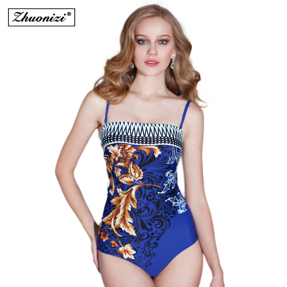 2016 Summer High-end Women Print Floral Sexy Vintage  Swimwear One Piece Suit Push Up Halter Monokini Siwmsuits Retro Beachwear от Aliexpress INT