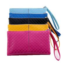 Korean Fashion Plaid Lady Womens Long Check Purse Clutch PU Leather Wallet Card Holder Handbag