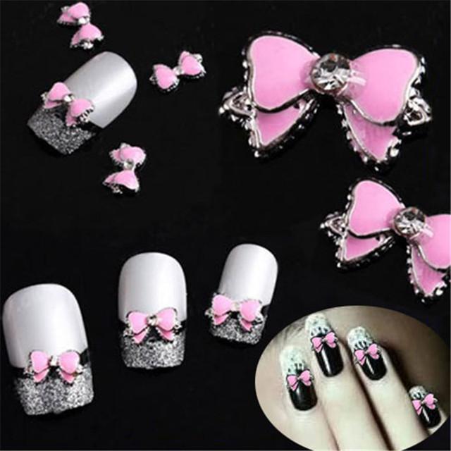 10pcs Pink Bow Tie 3d Nail Art Rhinestones Nail Art DIY Decoration Glitters Slices Nails Stud Beauty Tips Makeup Accessories