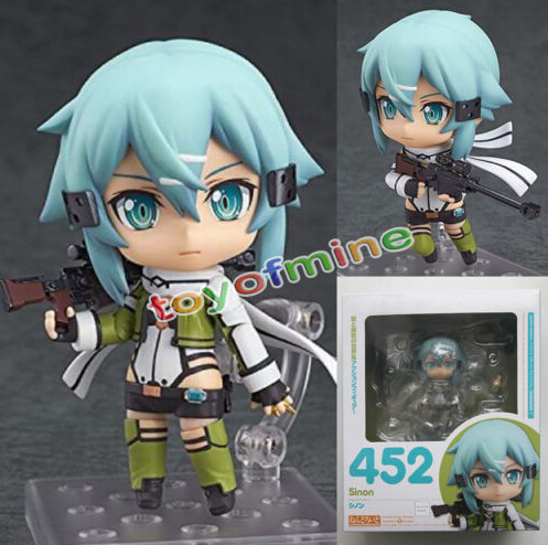 Cute Nendoroid 452 Sword Art Online II Sinon Phantom Bullet SAO GGO 10cm PVC Action Figure Toys Gift New in Box T3002(China (Mainland))