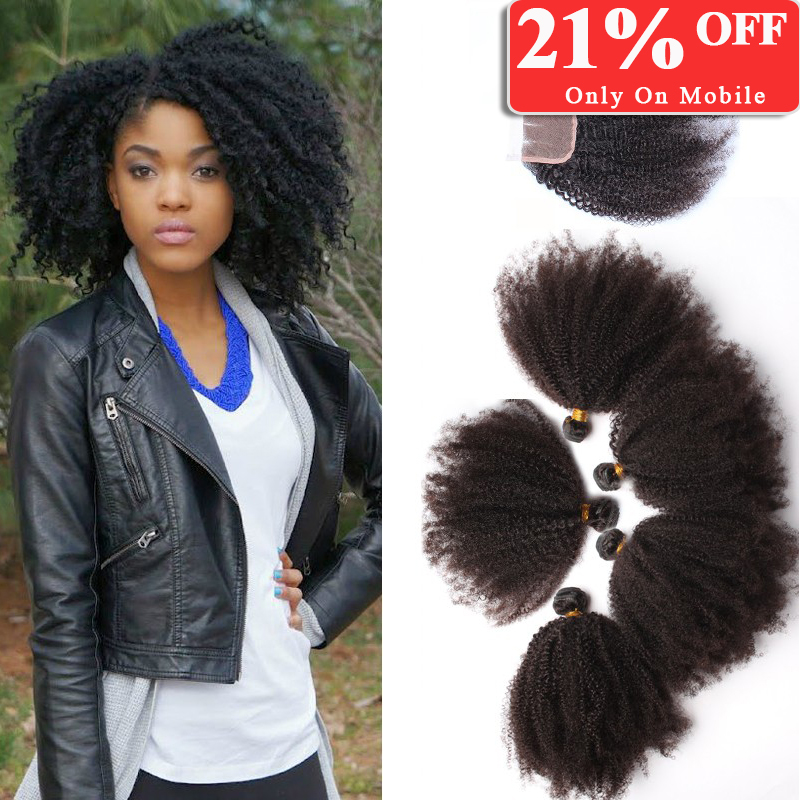 Mongolian kinky curly hair with closure unprocessed virgin afro kinky curly hair with closure,1pc lace closure with 5pcs bundles<br><br>Aliexpress