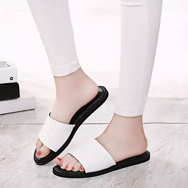 2016 comfortable slippers flat slip-resistant quinquagenarian slippers drag flat heel plus size leather slippers female<br><br>Aliexpress