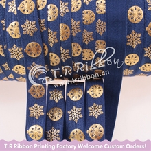 Christmas foe #370 Navy 5/8 Inch gold foil snowflake printed foe for webbing 50 yards/lot Hot Selling(China (Mainland))