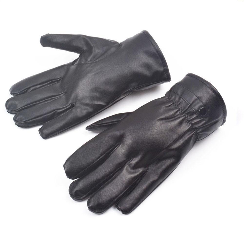 Long black leather gloves prices - Hotsale Winter Pu Leather Gloves 0085 Black Luvas De Couro Motocycle Punk Rock Warm Luva Motoqueiro