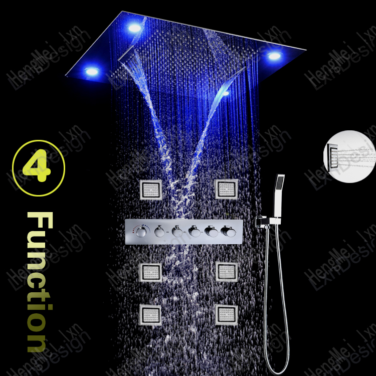 jiangmen hengmei supply bathroom accessory set multi color remote control rain waterfall shower and body jets full shower kit(China (Mainland))