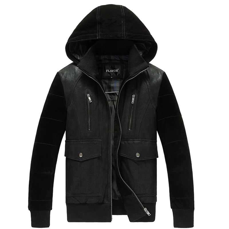 2016 Men's real leather jacket pigskin hooded hat jackets Genuine Leather jacket men leather coat warm padding cotton(China (Mainland))