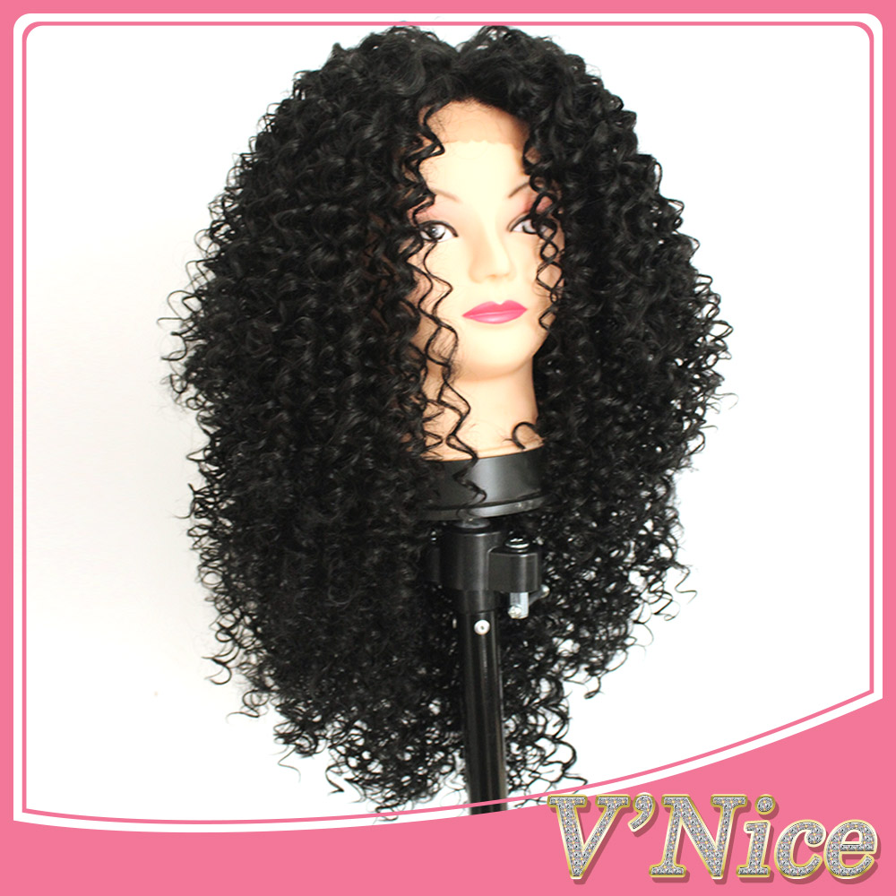 synthetic wigs kinky curly lace front wig heat resistant fiber curly synthetic lace front wig<br><br>Aliexpress