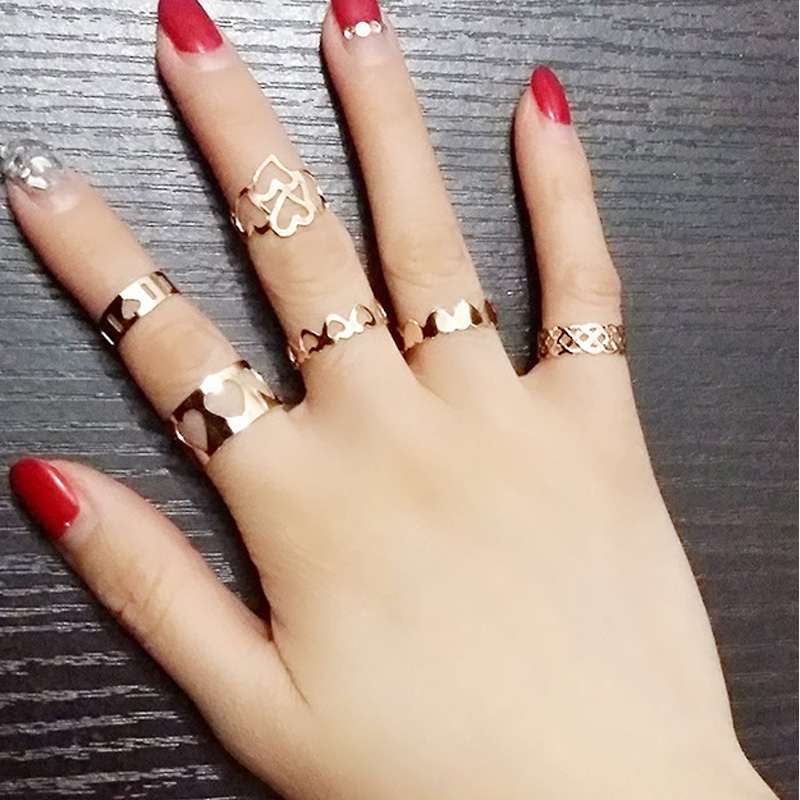 6pcs/set Fashion Punk Style Midi Tip Finger Gold Plated Knuckle Rings Set for Women(China (Mainland))