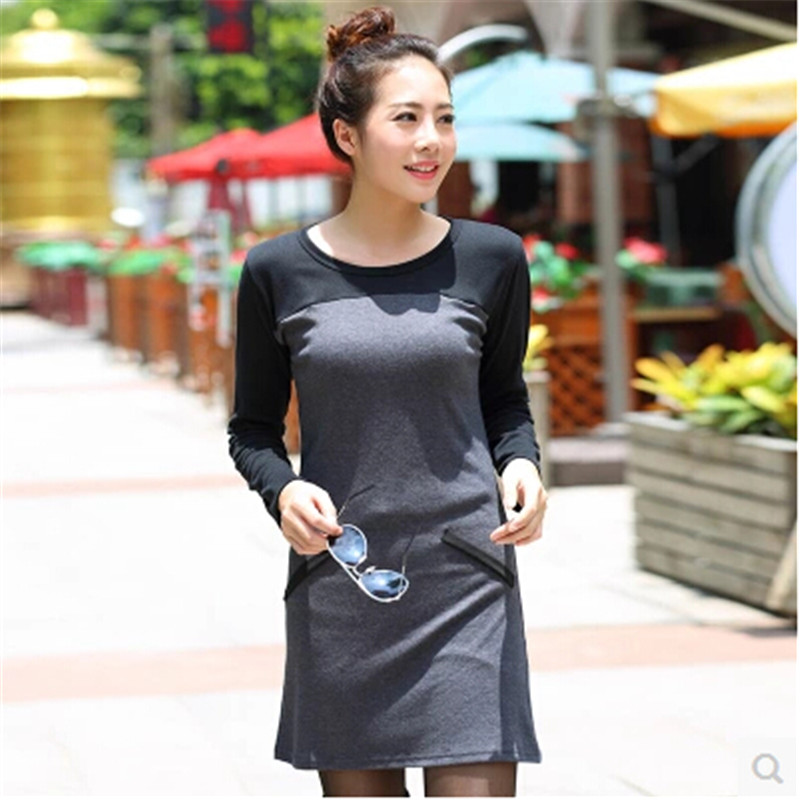 Summer dress Women Large size dress Fashion Knitting Joining together Dress Factory direct sale Cotton Long sleeve dress BN1661(China (Mainland))