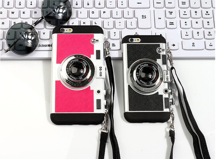 2016 New Korean style camera phone case silica gel for iphone 5 5s 6 6s 6p 6sp free sipping phone cover