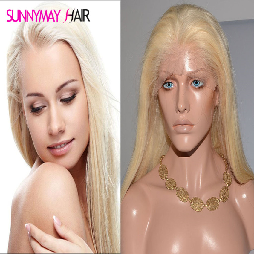 Cheap 8A Blonde Full Lace Wigs 613 Brazilian Virgin Hair Straight Gluless Blonde Lace Front Human Hair Wig For Black White Women(China (Mainland))