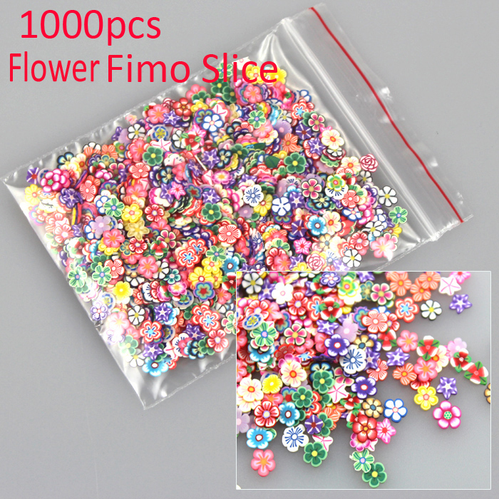 New 1000pcs Flower Multi Style 3D Nail Art Fimo Stickers Slice Polymer Clay Slice Nail Art Sticker Decoration(China (Mainland))