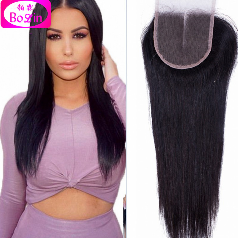 DHL fast shipping Malaysian Straight Human Hair Lace Closure Bleached Knots Middle Part Lace Top Closure Natural Color Hair <br><br>Aliexpress