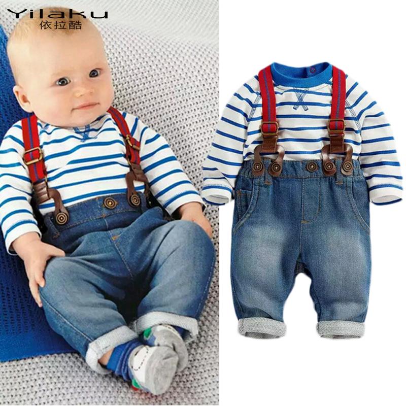 Children's Suits Newborn Boys Jeans + Cotton Stripe Tops Toddler Kids Clothing Set Spring Autumn Baby Sets Boy Tracksuit CF347(China (Mainland))