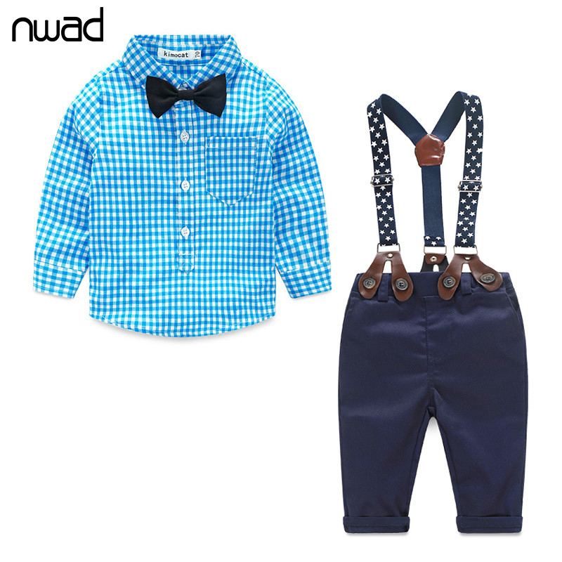 Baby Boy Clothes 2016 Spring New Brand Gentleman Plaid Clothing Suit For Newborn Baby Bow Tie Shirt + Suspender Trousers FF032(China (Mainland))