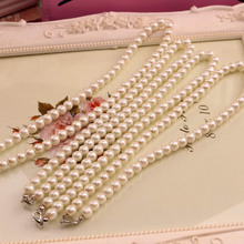 Buy White Imitation Freshwater Pearl Necklace Women 40cm Classic Peal Beads Necklace Fashion Jewelry Wholesale Price for $1.02 in AliExpress store