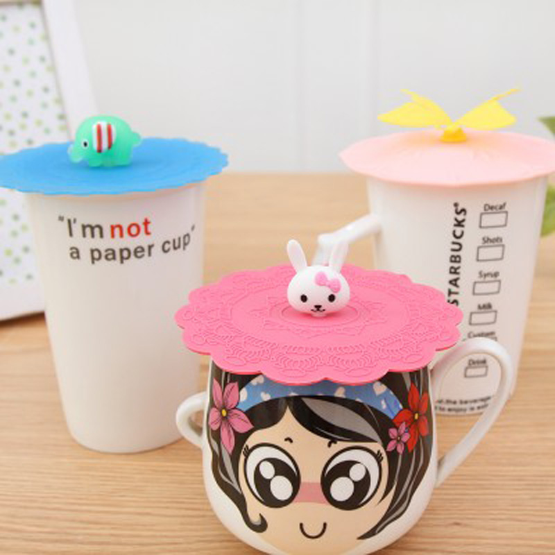 1pcs Creative Cute Silicone Cup lids Anti-dust Leakproof Mugs Novelty Gift Kitchen Dining Wholesale Bulk Accessories Supplies(China (Mainland))