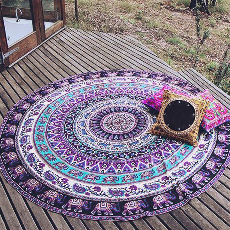 2016 Creative painted New Summer Large Round Beach Pool Blanket Table Cloth Yoga Mat Circle Beach Towel Serviette De Plage(China (Mainland))