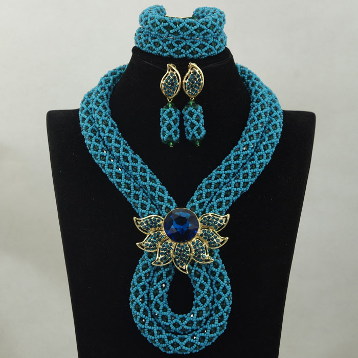Charms Teal Blue Party African Women Jewelry Set Crystal Rhinestone Necklace Earrings Brooch Fashion Jewelry Free shipping WA895(China (Mainland))
