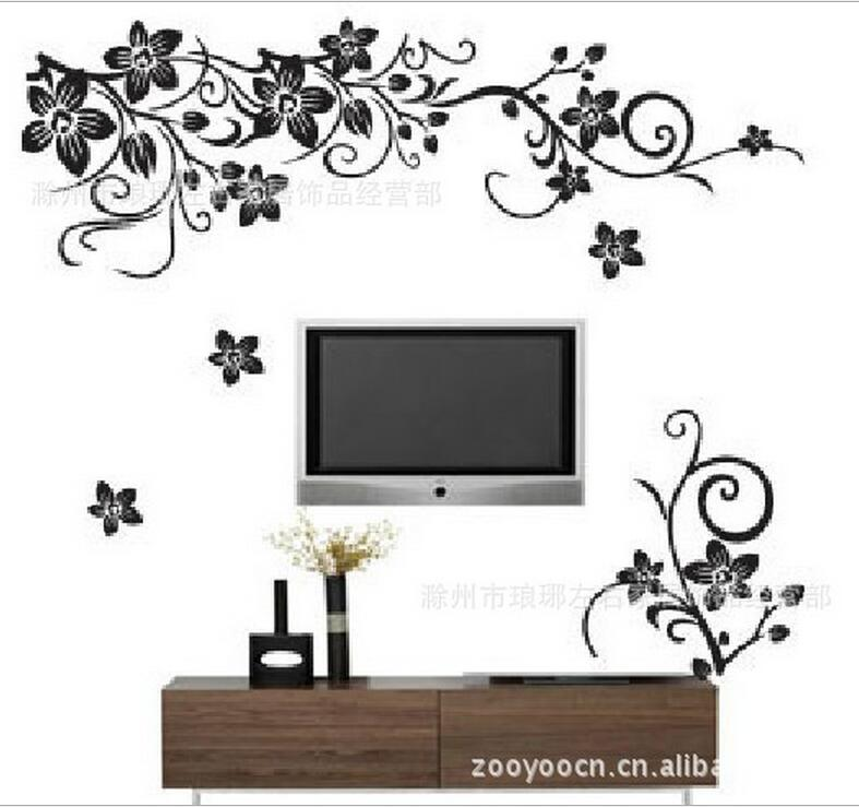 Black butterfly, flower vine, Western black, TV background wall stickers, understated luxury, modern fashion,  home decor