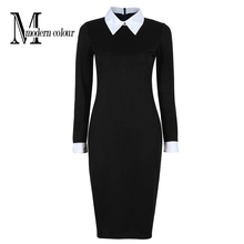 Black Office Dresses Women 2017 Spring New Arrivals Fashion Long Sleeve Pencil Dress Ladies Casual Work Dress With White Collar(China (Mainland))