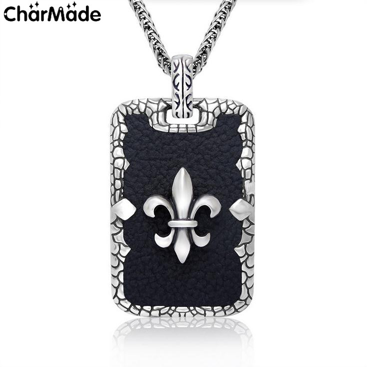 Cameo Fleur de Lis Scout Iris Black Leather Pendant Tag Necklace 316L Stainless Steel With 32inch Fox Chain CharMade P140(China (Mainland))