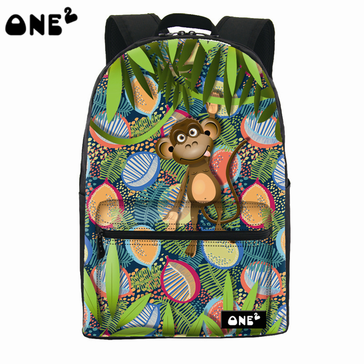 2016 ONE2 Design cute monkey pattern custom printed school bag fashion backpack brand names eminent laptop bag(China (Mainland))