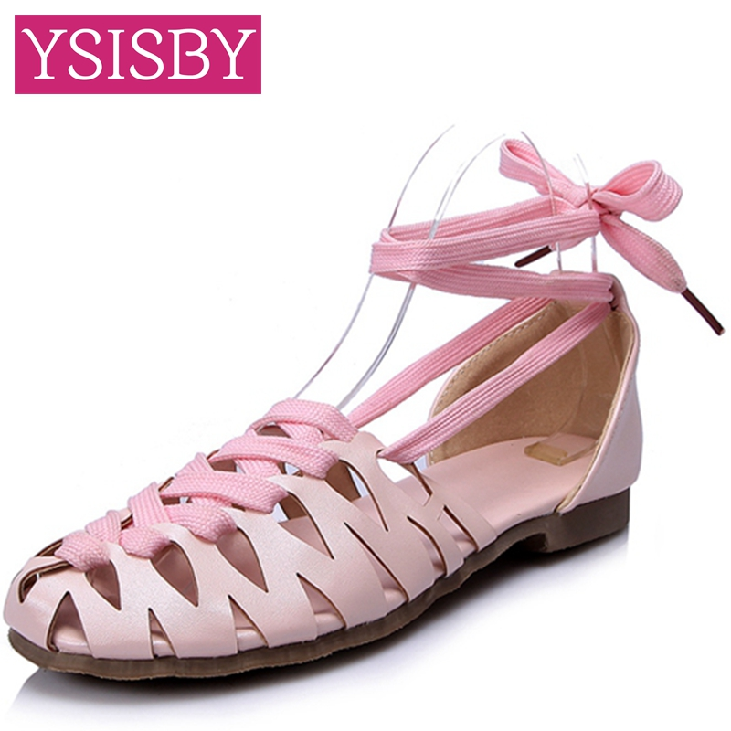 Cross-tied Fretwork Lace-up Bowtie Cover heel Lady sandals Shoes woman Summer Casual Pink Blue Green Big size 40 41 42 43  -  YSISBY CO.,LIMITED store
