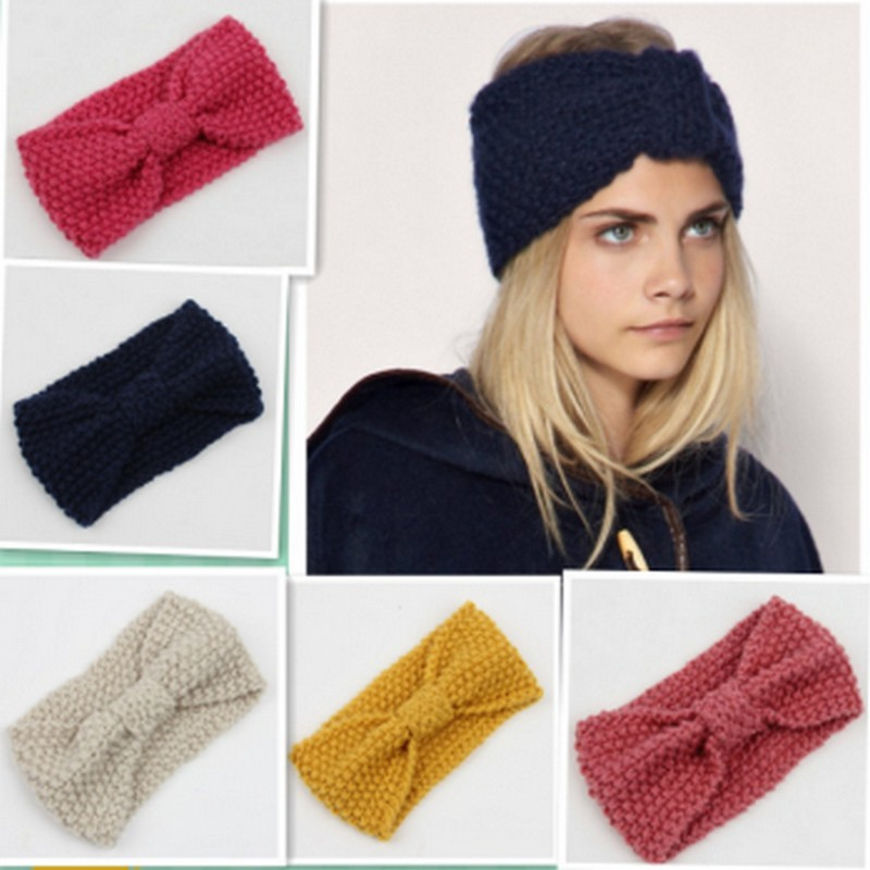 6 Colors Women Fashion Woolen Knitted Crochet Bow Turban Knitted Headwrap Hair Band Ear Broadside Comfort Warmer Headband(China (Mainland))