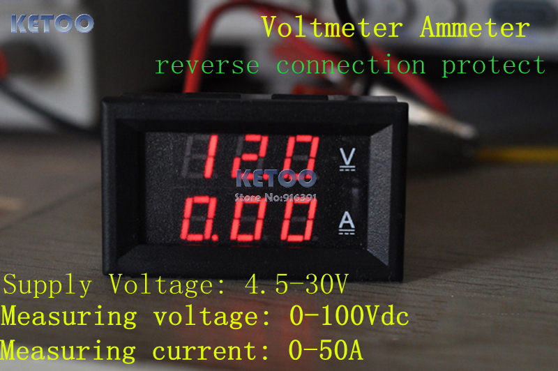 dc 0 100v 1000a red led display volt amp meter digital voltmeter car led digital ac voltmeter ammeter dc 0 100v voltage meter current meter 2 in 1 panel meter voltmeter ammeter ac 50a