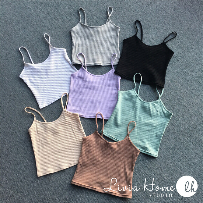 2016 NEW Fashion Sexy Women Bralette Bralet Bustier Crop Top Cami Tank Tops European style elasticity Sleeveless Vest 7color(China (Mainland))