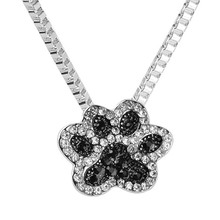 Buy Fashion jewelry Silver Color Black White crystal rhinestone Dog Paw Pendant Necklace cute gift girls for $1.10 in AliExpress store