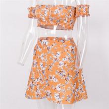 Для женщин облегающее платье бодикон без рукавов Вечеринка лето с плеча Оранжевый Цветочный клуб пляжные короткие мини-платье 2 шт.(China)
