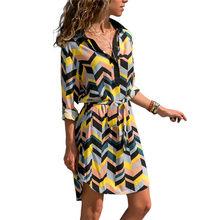 ארוך שרוול חולצה שמלת 2019 קיץ שיפון Boho חוף שמלות נשים מקרית פסים הדפסת אונליין מיני המפלגה שמלת Vestidos(China)