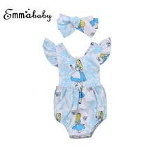 Emmababy милый, для новорожденных девочек, комбинезон с оборками, Детский комбинезон + повязка на голову, одежда из хлопка синего цвета для Одежд...(China)
