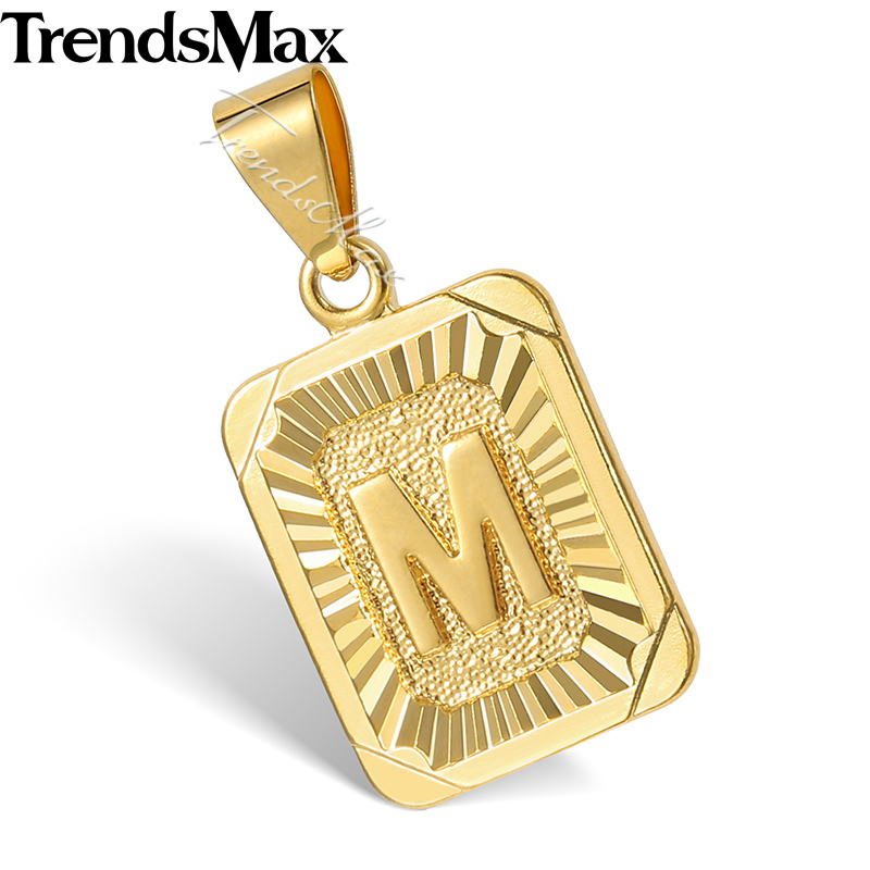 Trendsmax High Quality Yellow Gold Filled Square Pendant w Capital Letter Fashion Design Mens Womens Wholesale Jewelry GP36(Hong Kong)