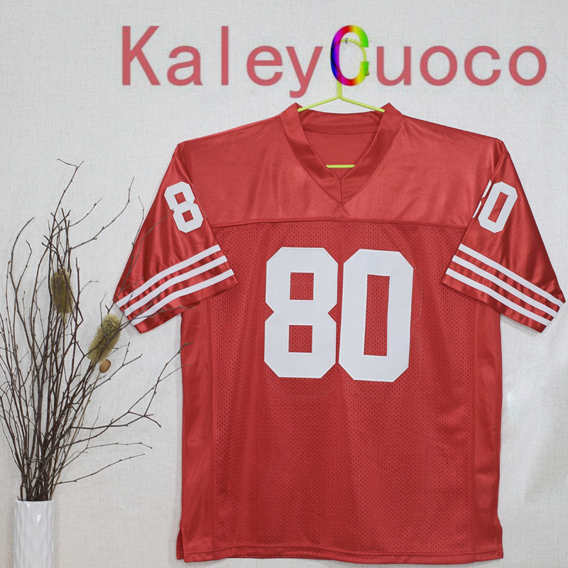 Retro star #80 Jerry Rice Embroidered Throwback Football Jersey M&N 48 50 52 54 56 Jerseys(China (Mainland))
